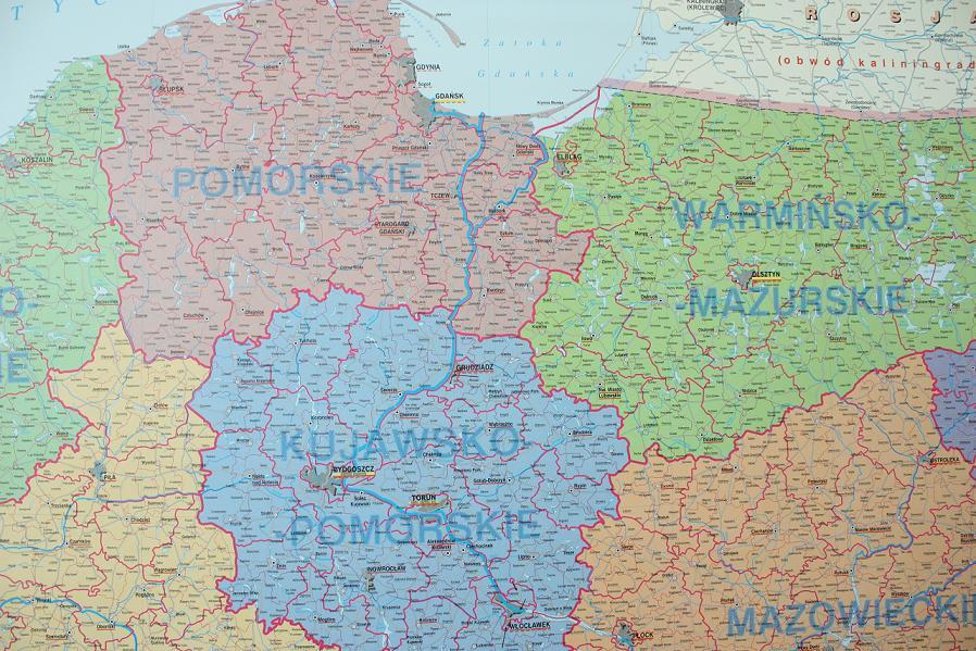Mapa Polski Podział na Województwa Mapa Ścienna Polski Podział