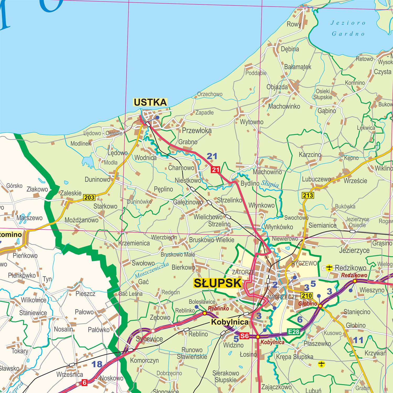 Woj Pomorskie Mapa Administracyjno Samochodowa