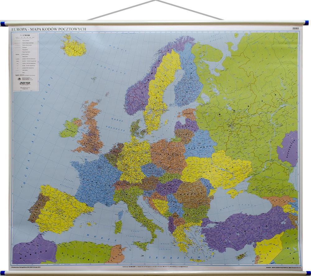 Europa Mapa Kodow Pocztowych Najlepsza Na Rynku 143 X 120cm