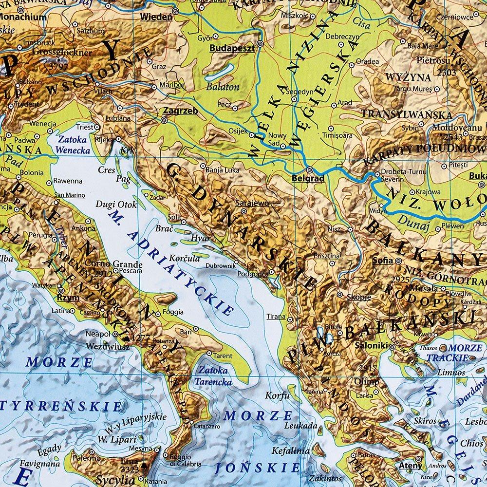 Europa Mapa Dwustronna Polityczno Fizyczna 1 7 000 000 100x70 Cm