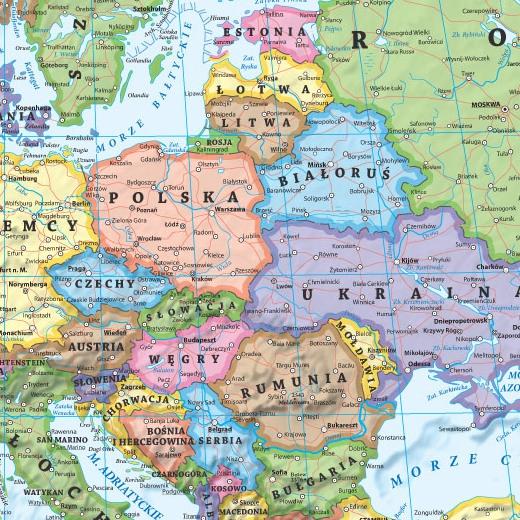 Europa Mapa Polityczna I Kodow Pocztowych Dwustronna Podkladka