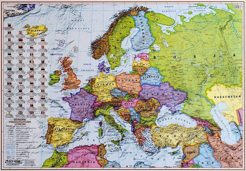 Europa Polityczna Mapa Scienna Naklejka 1 7 000 000 100x70 Cm