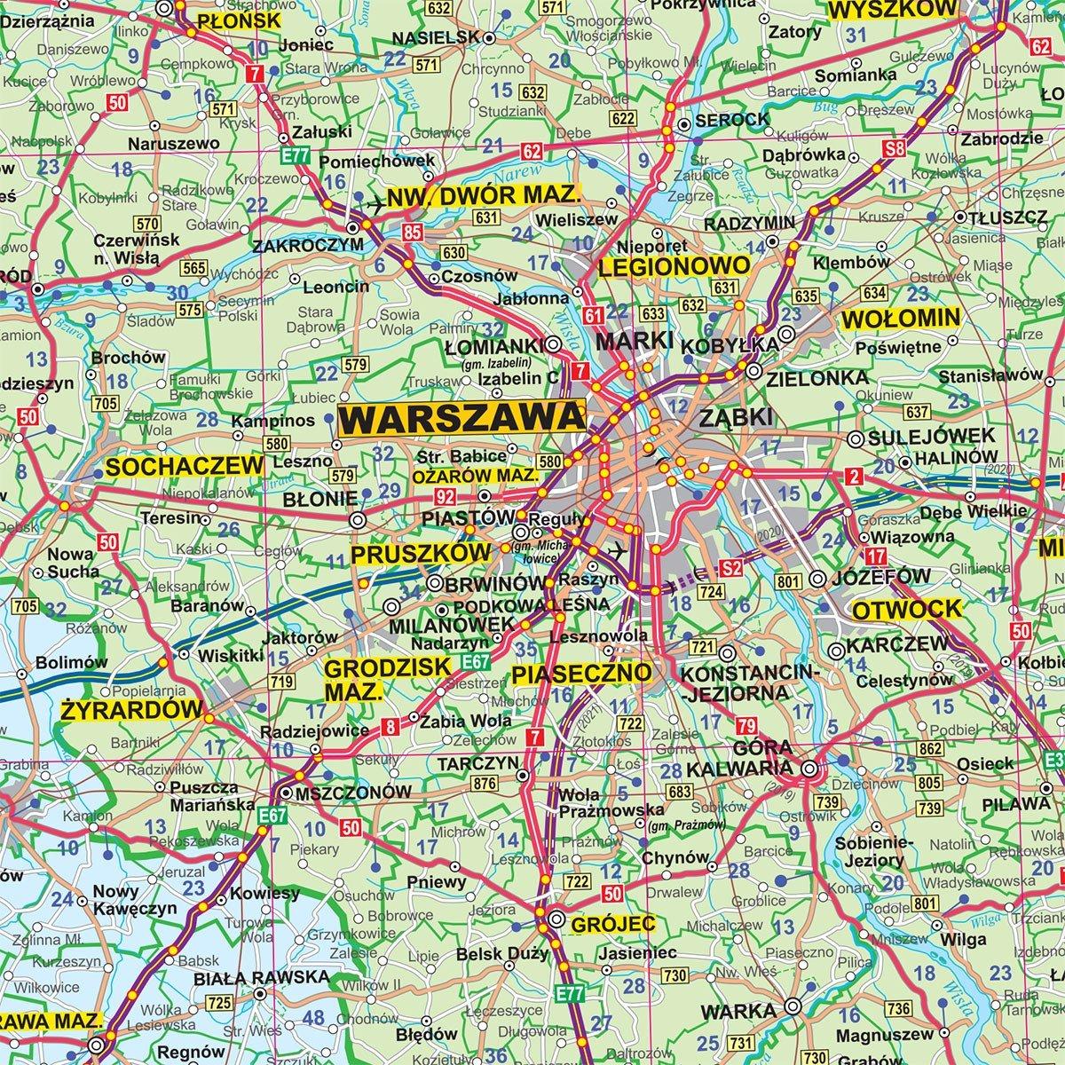 Mapa Scienna Administracyjno Drogowa Polski 1 700 000 8