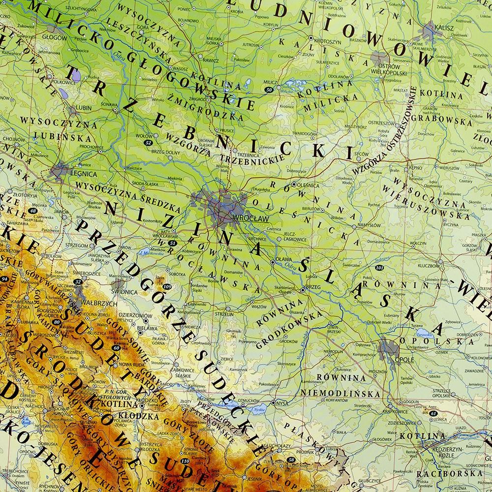 Polska Mapa Scienna Fizyczna 1 500 000 145x140 Cm