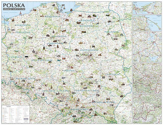 Polska Mapa Atrakcje Turystyczne 1 685 000 126 5x97 Cm