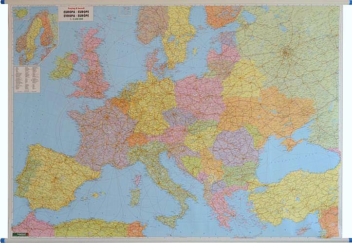 Europa Mapa Administracyjno Drogowa 1 2 600 000 170x122 Cm