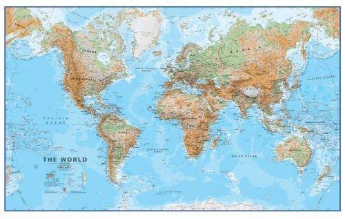 Mapa Fizyczna Swiata 1 30 000 000 136x84 Cm