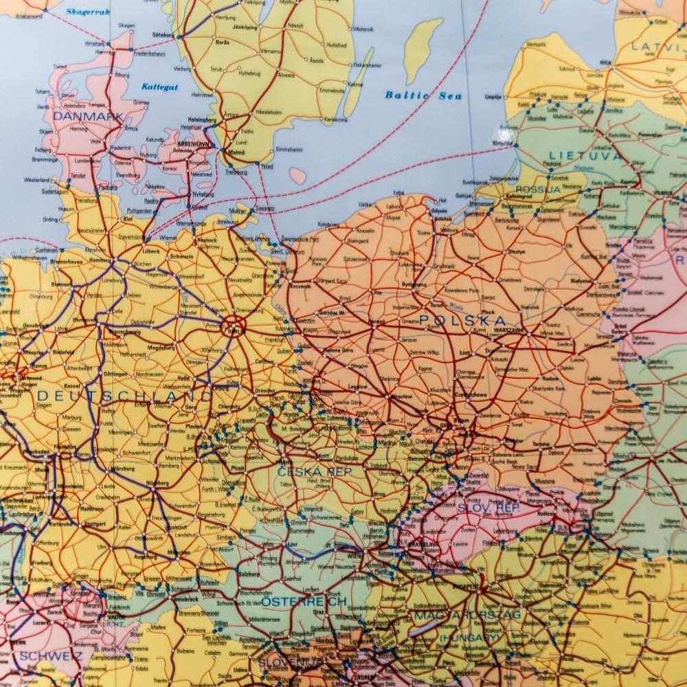 Europa Mapa Sieci Kolejowej 1 5 200 000 98x65 Cm