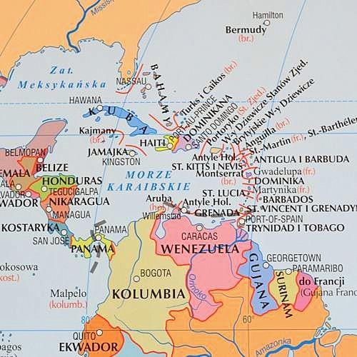 Swiat Mapa Scienna Polityczna Konturowa Dwustronna 1 19 000 000