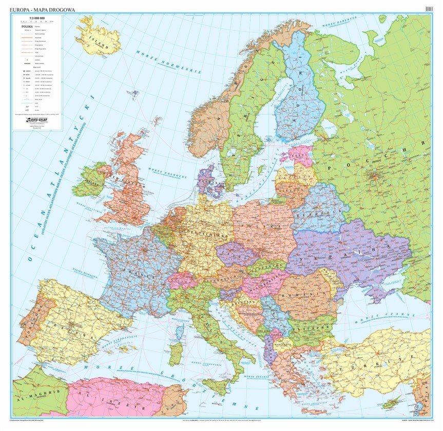 Europa Mapa Polityczno Drogowa 1 3 000 000 146x140 Cm