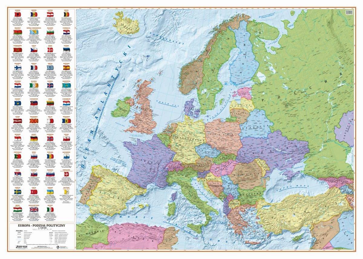 Europa Mapa Polityczna 1 4 500 000 140x100 Cm