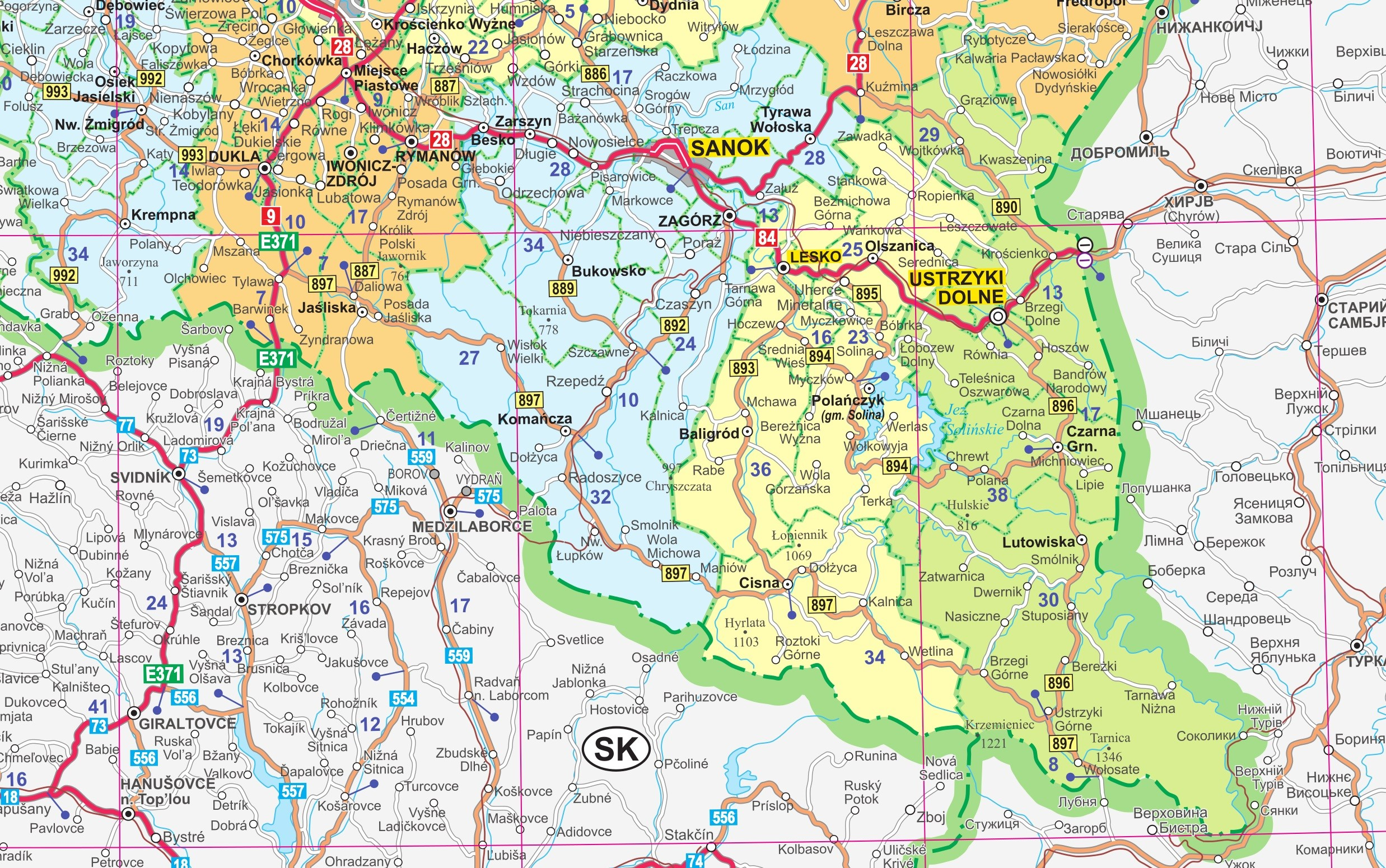 Mapa Scienna Woj Podkarpackiego 1 200 000