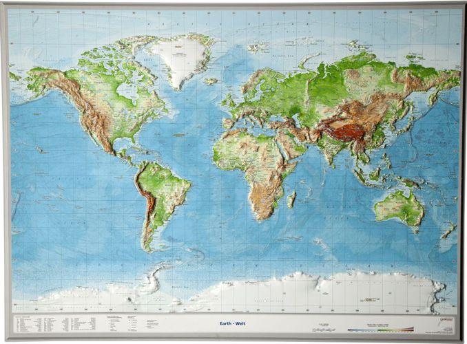 Swiat Mapa Plastyczna 1 53 500 000 Georelief