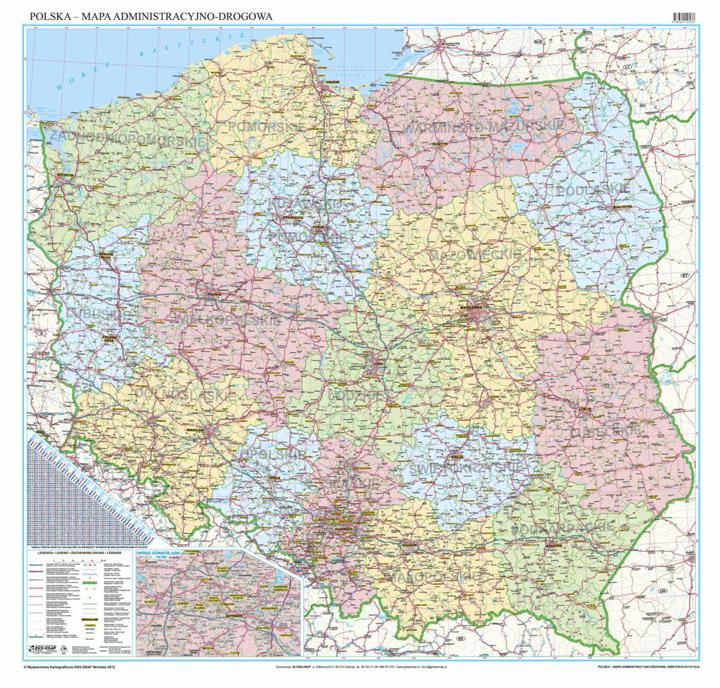 Mapa Scienna Administracyjno Drogowa Polski 200x200cm Wyd 2012r