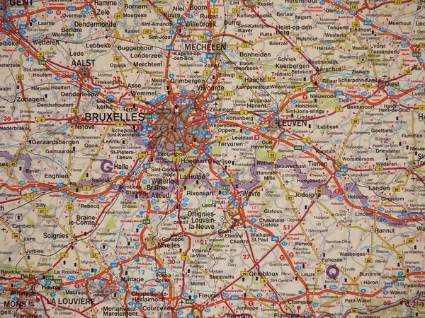 Benelux Belgia Holandia Luksemburg Mapa Scienna Samochodowa 1 500 000