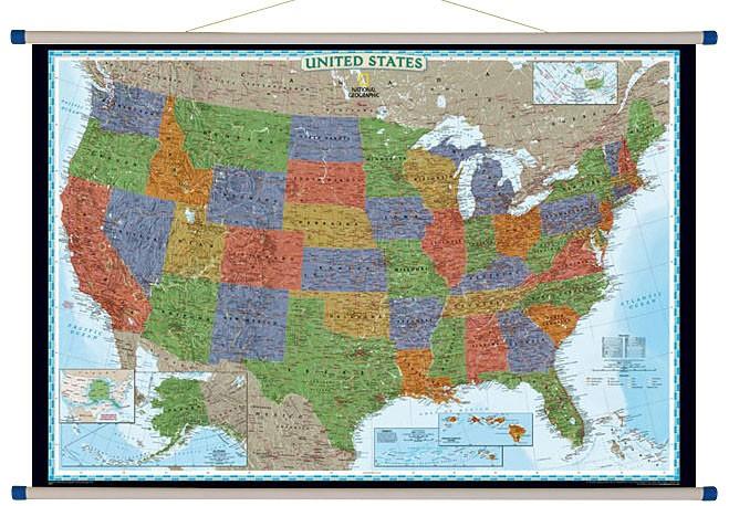 Stany Zjednoczone Mapa Scienna Polityczna Ang