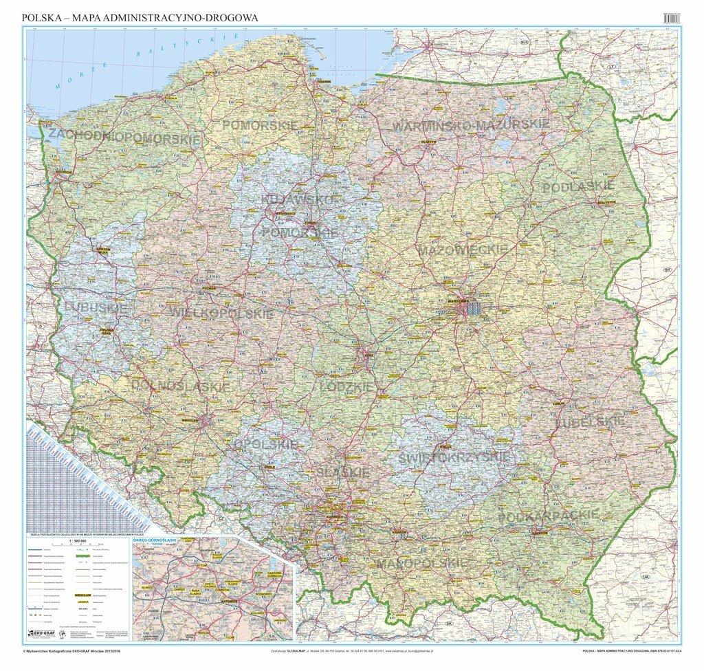 Polska Mapa Scienna Administracyjno Drogowa Z Tablicami