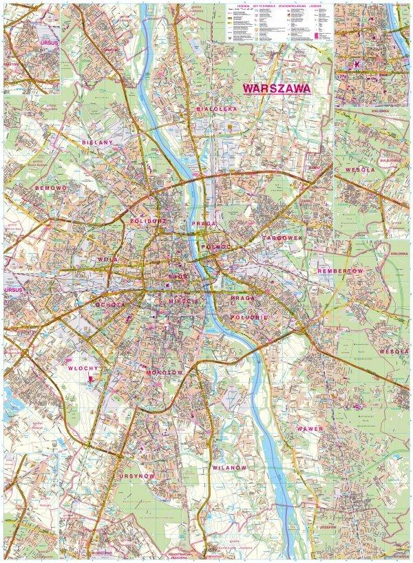 Warszawa Mapa Scienna 1 26 000 89x120cm