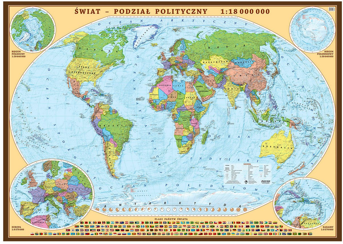 Swiat Polityczny 1 18 000 000 Wymiary 194x133 Cm