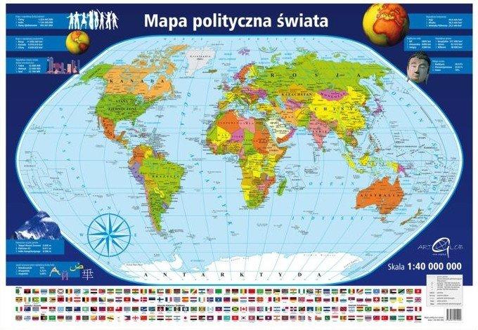Swiat Mapa Scienna Polityczna 1 40 000 000